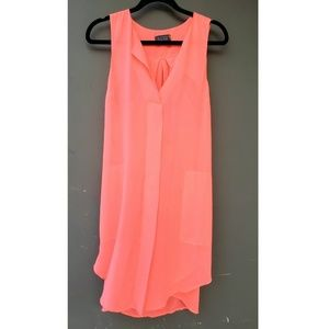 ASTR Neon Pink Sheer Dress MEDIUM